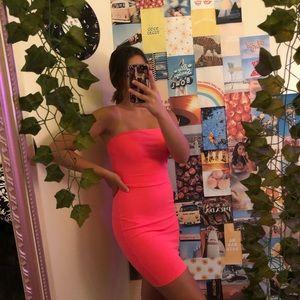 Pretty little thing neon pink body con dress